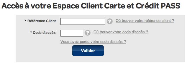 Carte Pass Espace Client sur www.carrefour-banque.fr