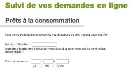 Demande de virement, suivi de demande sur www.cetelem.fr