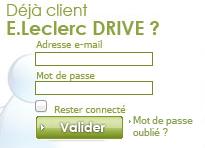 Inscription, Espace client sur www.leclercdrive.fr